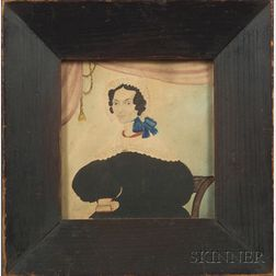 American School, 19th Century    Miniature Portrait of a Lady Holding a Book.