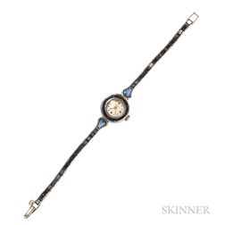 14kt White Gold and Synthetic Sapphire Wristwatch