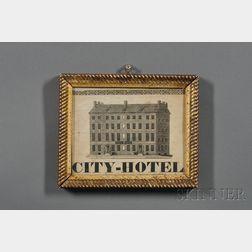 "Framed ""CITY-HOTEL"" Print"