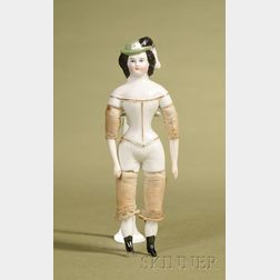 Small Parian Lady with Molded Plumed Hat