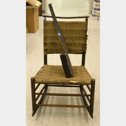 Shaker Stained Maple Rocker with Upholstered Back and Seat and a Black-painted Wood   and Horsehair Brush