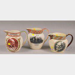 Three Wedgwood Transfer-decorated Commemorative Ceramic Jugs
