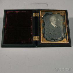 Quarter-plate Daguerreotype of a Painted Portrait of Reverend Micah Stone