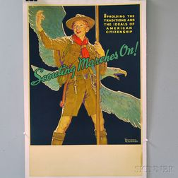 Norman Rockwell U.S. Boy Scouts Scouting Marches On!   Lithograph   Advertising Poster