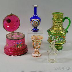 Five Decorative Glass Items