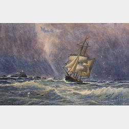 Edgar A. Dickinson (Canadian, 19th/20th Century)      Sailing Vessel in Stormy Coastal Waters.