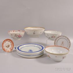Seven Chinese Export Porcelain Tableware Items