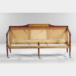Carved Mahogany, Mahogany Veneer, and Bird's-eye Maple-inlaid Sofa
