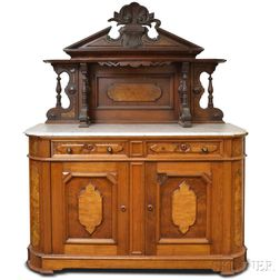 Renaissance Revival Carved Walnut Marble-top Sideboard