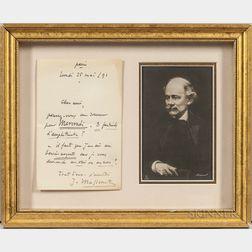 Massenet, Jules (1842-1912) Autograph Note Signed, Paris, 25 May 1891.