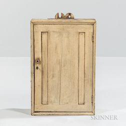 Small White-painted Wall Cupboard