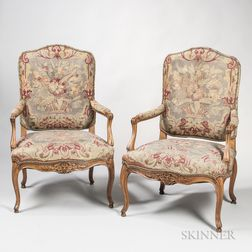 Pair of Louis XV-style Tapestry-upholstered Beechwood Armchairs