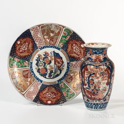 Large Imari Charger and a Vase