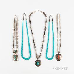 Five Contemporary Navajo Necklaces