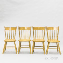 Set of Four Country Yellow-painted and Stenciled Thumb-back Windsor Side Chairs
