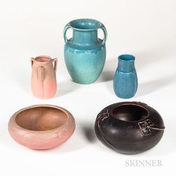 Five Pieces of Rookwood Studio Pottery