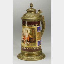 Viennese Enamel Decorated Bronze Mounted Porcelain Stein