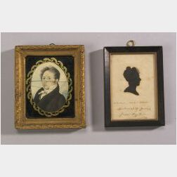 American School, 19th Century  Lot of Two:  A Miniature Portrait of a Gentleman and a Silhouette of Jane Taylor.