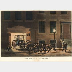 "Nathaniel Currier, publisher (American, 1813-1888)  THE LIFE OF A FIREMAN:  The Night Alarm.- ""Start her lively boys."""