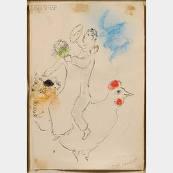 Marc Chagall (French/Russian, 1887-1985)      Two Lovers on a Rooster