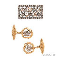 Art Nouveau 18kt Gold and Diamond Cuff Links and Diamond Brooch