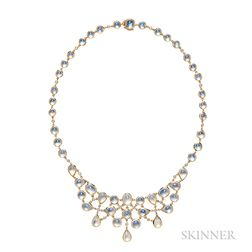 18kt Gold, Moonstone, and Diamond Necklace, Temple St. Clair