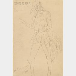 Mikhail Larionov (French/Russian, 1881-1964)      Costume for the Cock from Renard