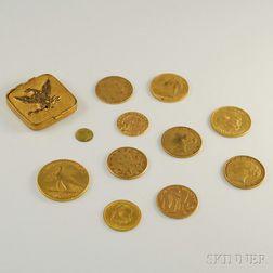 Ten Miscellaneous Gold Coins