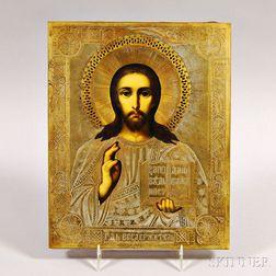 Russian Brass Riza Icon Depicting Christ Pantocrator
