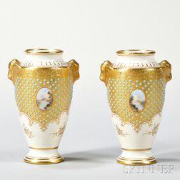 Pair of Jeweled Coalport Porcelain Vases
