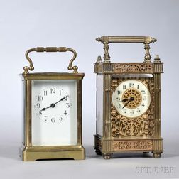 Two Time-only French Carriage Clocks