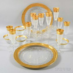 Seventeen Moser Gilt Colorless Glass Tableware Items