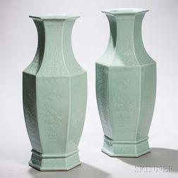 Pair of Large Celadon-glazed Vases