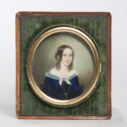 Pamelia Hill (Framingham, Massachusetts, 1803-1860)      Miniature Portrait of Sarah Farley Treadwell