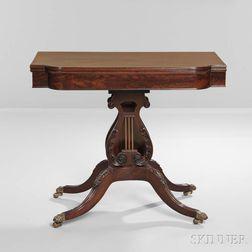 Fine Carved Mahogany and Mahogany Veneer Harp-base Card Table