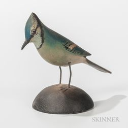 Elmer Crowell Carved and Painted Miniature Blue Jay