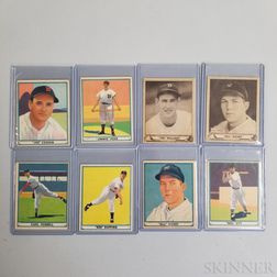 Eight 1940 and 1941 Gum Inc. Play Ball Baseball Cards