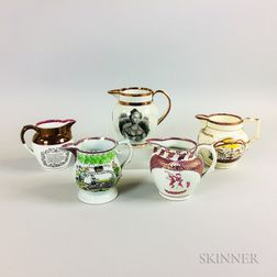 Five Staffordshire Pink Lustre Commemorative Ceramic Items