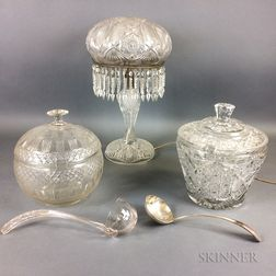 Two Colorless Cut Glass Punch Bowls and a Lamp