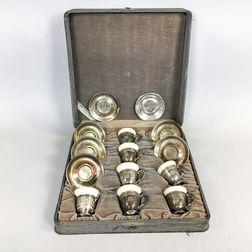 Assembled Sterling Silver Cased Demitasse Set