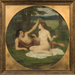 Manner of Pierre Puvis de Chavannes (French, 1824-1898)      Lovers in Arcadia