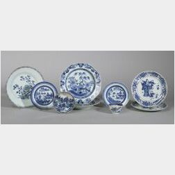 Nine Blue and White Chinese Export Porcelain Items