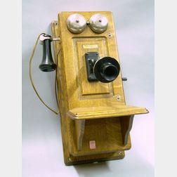 Western Electric Oak Wall Mounted Magneto Telephone