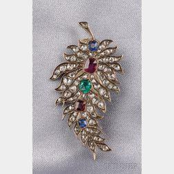 Antique Diamond and Gem-set Leaf Brooch