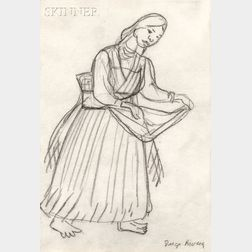 Diego Rivera (Mexican, 1886-1957)      Purepechan Woman, Perhaps Dancing