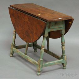 William & Mary-style Blue-painted Drop-leaf Butterfly Table with Decorated Top