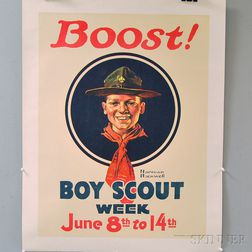 Norman Rockwell U.S. Boy Scouts Boost! Boy Scouts Week   Lithograph   Advertising Poster