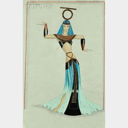 Paul-René Larthe (French, fl. 1930s-1940s)      Costume Design for Prêtresses Oasis d'Ammon (Act II)
