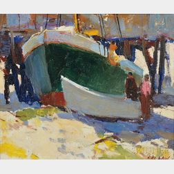 Attributed to John Whorf (American, 1903-1959)      Boatyard