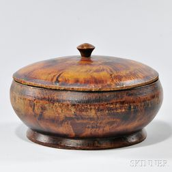 Putty-painted Covered Treenware Container